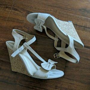 Never worn blush wedge heels